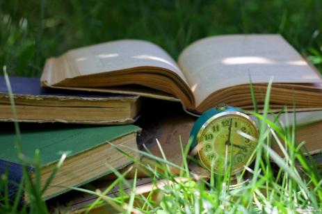 books in the grass